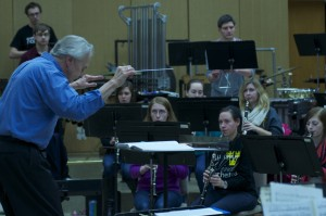 Conductor Douglas Nimmo and the Gustavus Wind Orchestra in Rehearsal