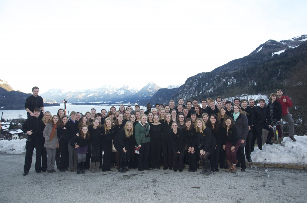 The Gustavus Wind Orchestra, 2014, above Lake Wolfgang, south of Salzburg, Austria