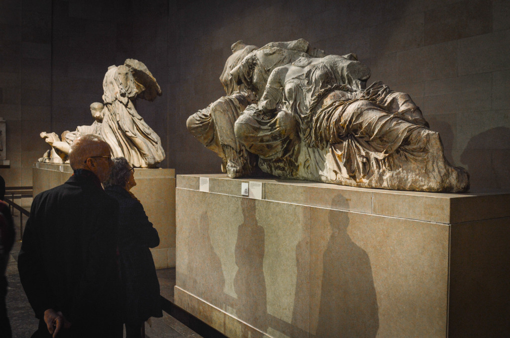 Dr. A and Julie view the Elgin Marbles, which once sat atop the Parthenon in Athens, Greece.