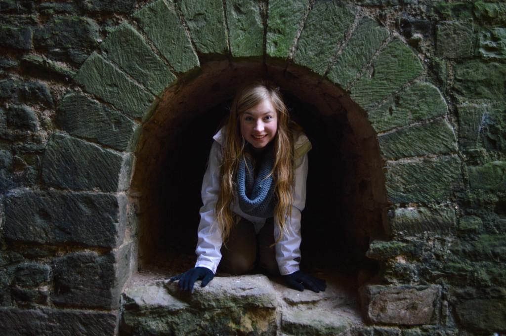 Meg Crosby '16 exploring Ludlow Castle.