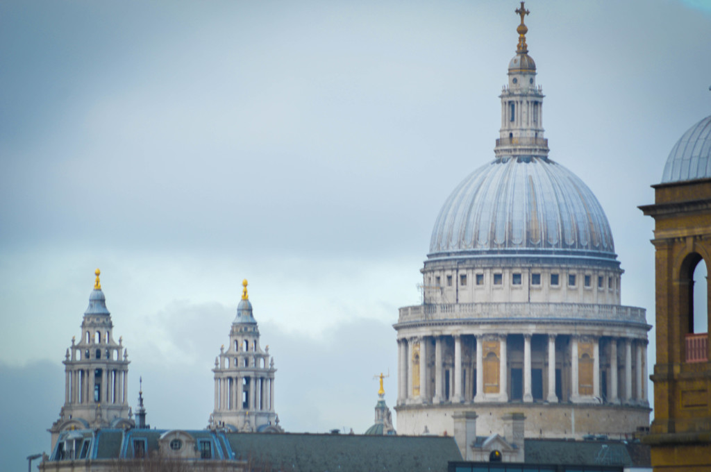 St. Paul's Cathedral, where the choir will sing Evensong tomorrow. Taken from London Bridge.