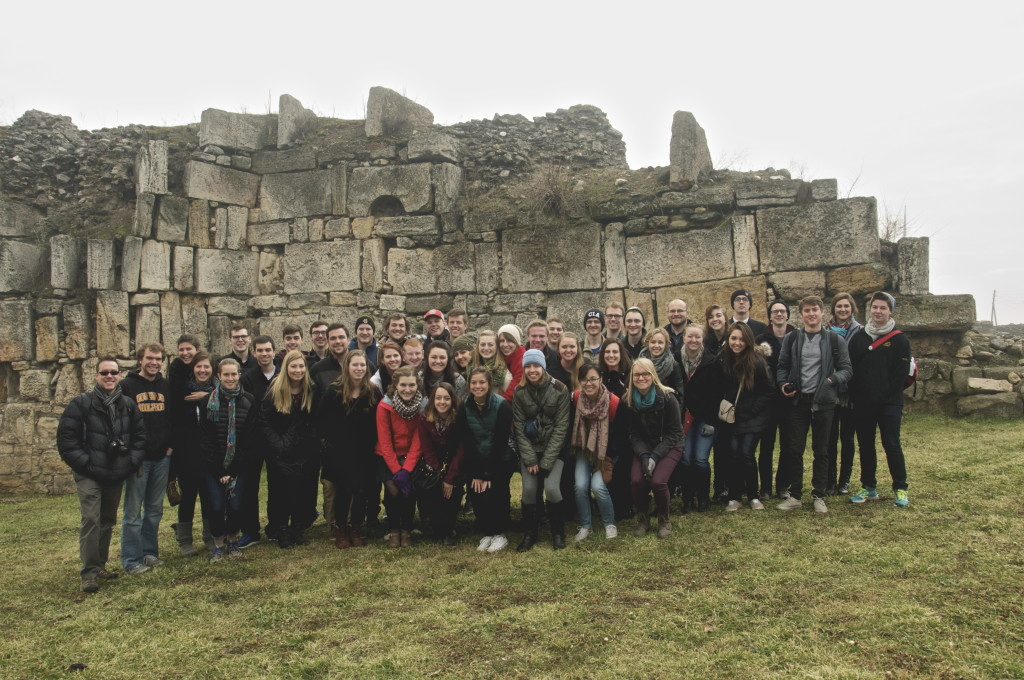 Bus 1 at Kale Fortress ruins in Skopje, Macedonia