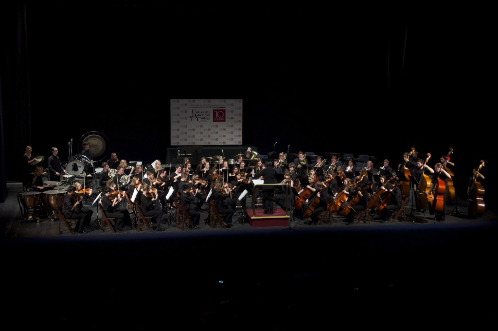 The Gustavus Symphony Orchestra, Ruth Lin, conductor, at the Macedonia Opera & Ballet House in Skopje