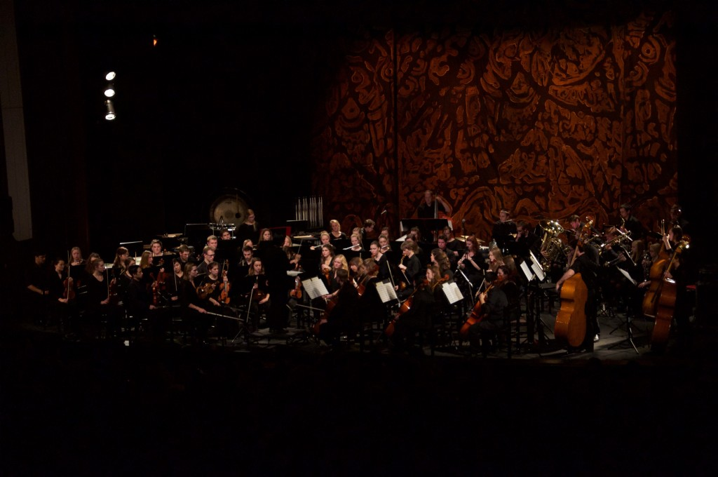 The Gustavus Symphony Orchestra, Ruth Lin, conductor, in concert at the NI House of Culture Theatre, Bitola, Macedonia